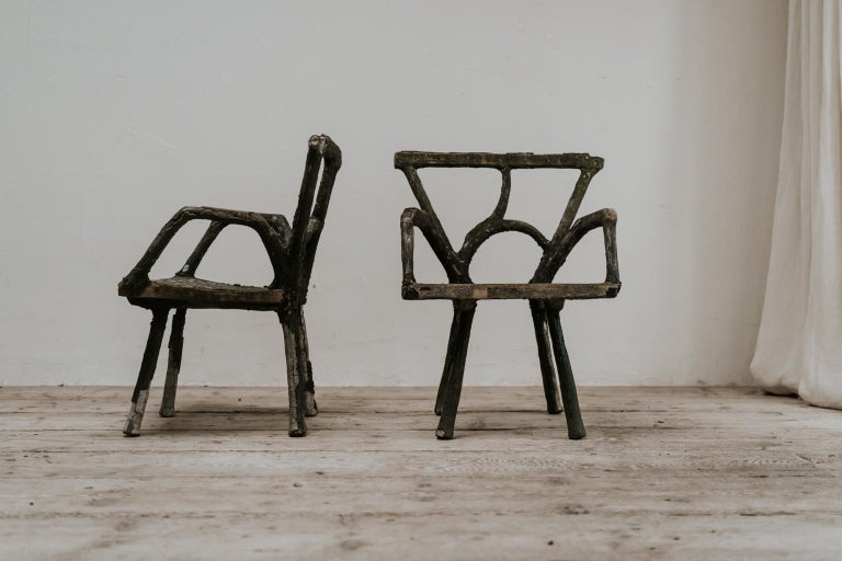 Pair of 19th Century Faux Bois Armchairs For Sale 3