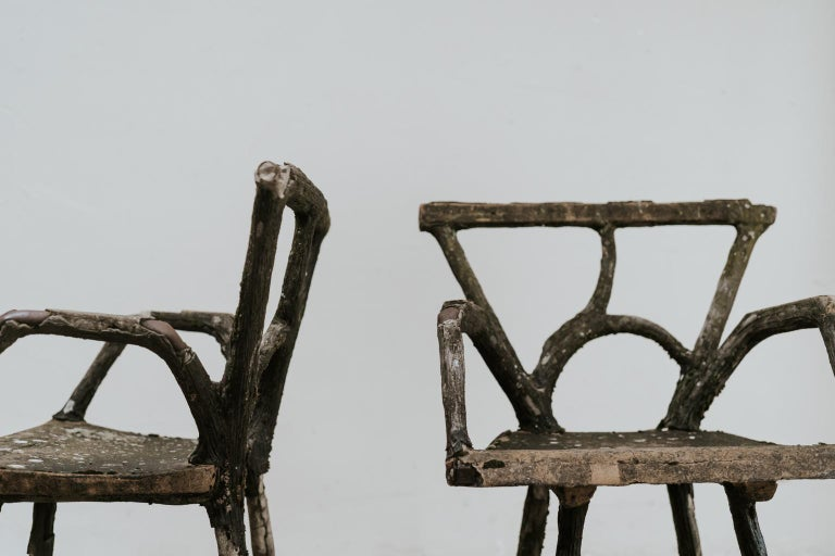 Pair of 19th Century Faux Bois Armchairs For Sale 4