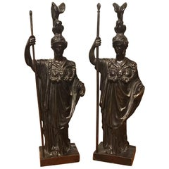 Pair of 19th Century French Bronze Figures of Athena