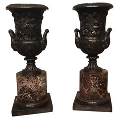 Pair of 19th Century French Bronze Urns on Circular Marble Bases