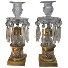 Pair of 19th Century French Cut Glass and Ormolu Candlesticks
