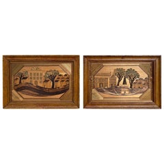 Pair of 18th Century French Straw Marquetry Landscapes