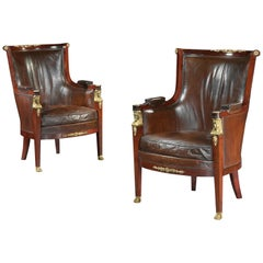 Pair of 19th Century Gilt Bronze Mounted Moroccan Leathered Armchairs