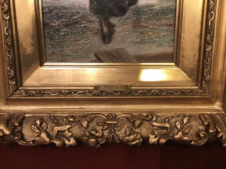 Pair of 19th Century Giltwood Oil Paintings by L. Pernett  In Good Condition For Sale In Darwen, GB