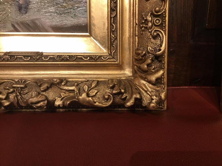Late 19th Century Pair of 19th Century Giltwood Oil Paintings by L. Pernett  For Sale