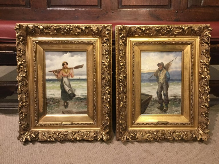 Pair of 19th Century Giltwood Oil Paintings by L. Pernett  For Sale 1