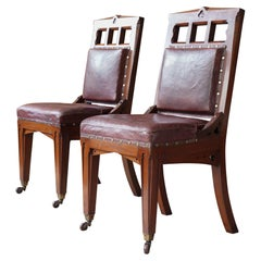 """Pair of 19th Century """"Gothic"""" Library Chairs"""