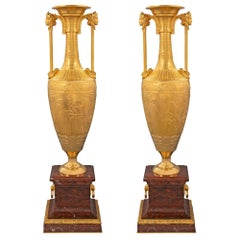 Pair of 19th Century Greco-Egyptian Style Ormolu Water Vases, circa 1880