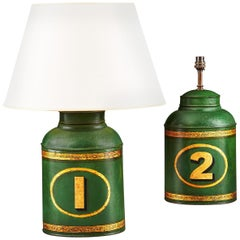 Pair of 19th Century Green Tole Tea Tins as Table Lamps