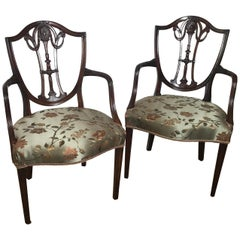 Pair of 19th Century Hand Carved Hepplewhite Armchairs