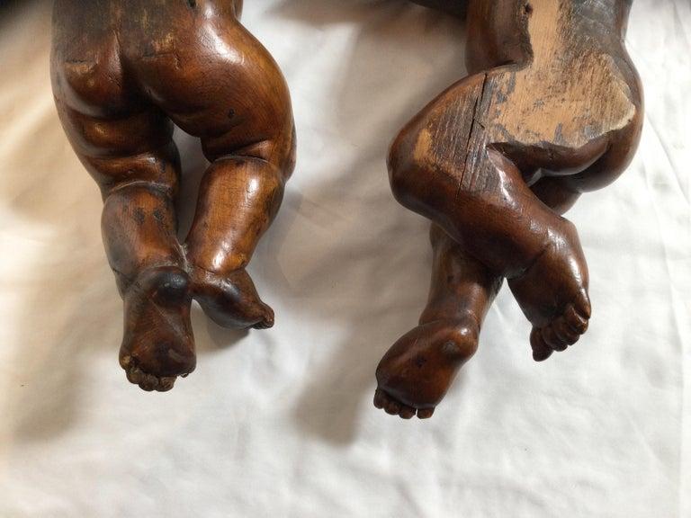 Pair of 19th Century Hand Carved Italian Walnut Cherubs For Sale 6