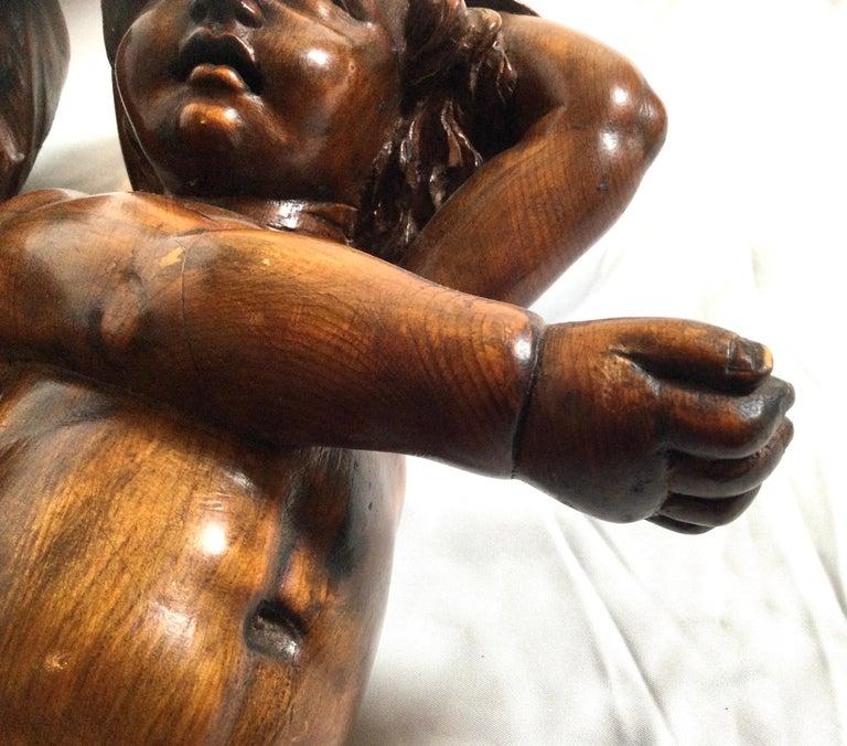 Pair of 19th Century Hand Carved Italian Walnut Cherubs For Sale 2