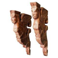 Pair of 19th Century Hand Carved Oak Ornaments with Mythical Creatures