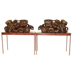 A Pair of 19th century hardwood Chinese Mythical Beasts/Dogs of Foo on Stands