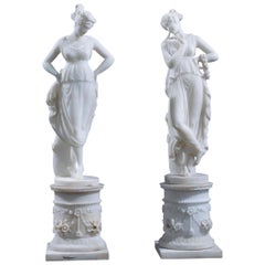 Pair of 19th Century Italian Alabaster Classical Figures of Muses