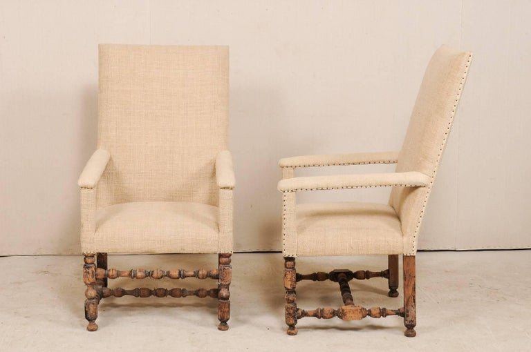 Pair of 19th Century Italian Upholstered and Carved Wood Armchairs For Sale 7