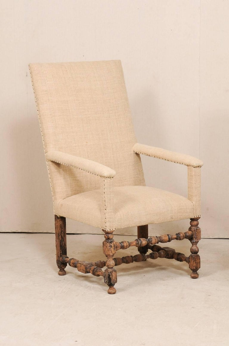 Pair of 19th Century Italian Upholstered and Carved Wood Armchairs In Good Condition For Sale In Atlanta, GA