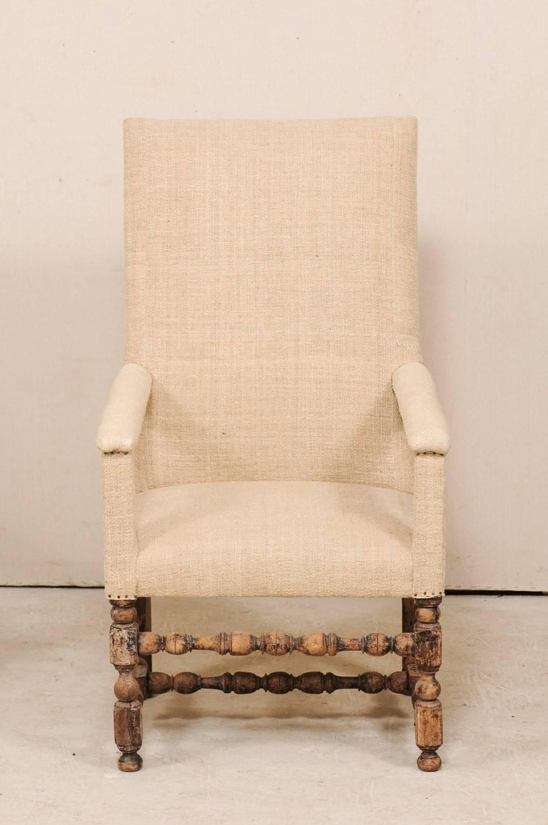 Pair of 19th Century Italian Upholstered and Carved Wood Armchairs For Sale 1