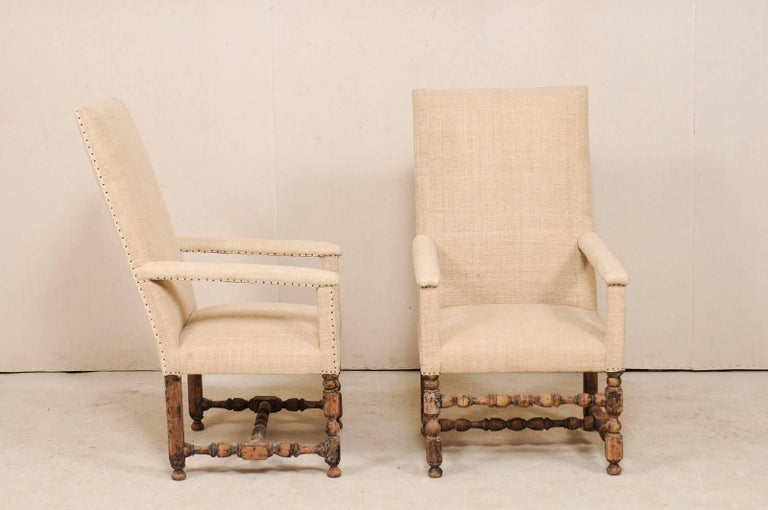 Pair of 19th Century Italian Upholstered and Carved Wood Armchairs For Sale 2