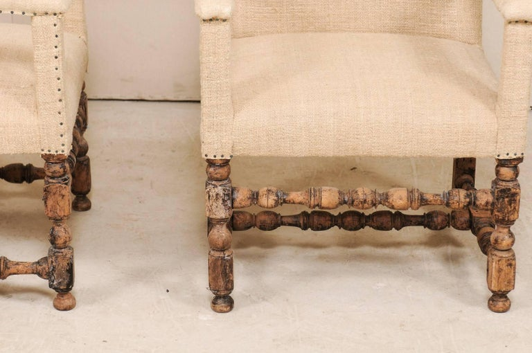 Pair of 19th Century Italian Upholstered and Carved Wood Armchairs For Sale 3