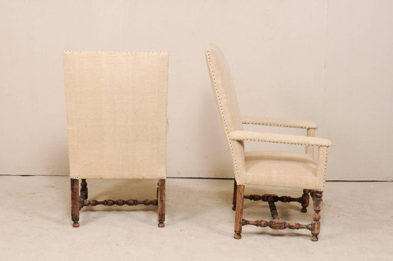 Pair of 19th Century Italian Upholstered and Carved Wood Armchairs For Sale 5