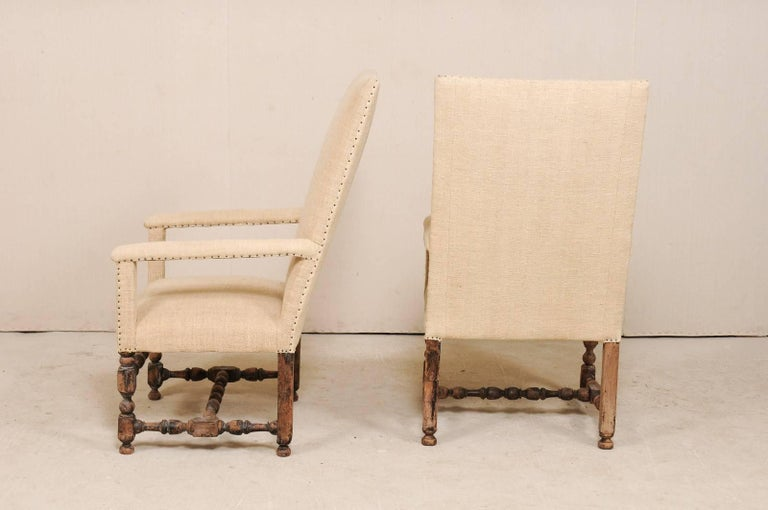 Pair of 19th Century Italian Upholstered and Carved Wood Armchairs For Sale 6