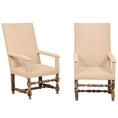 Pair of 19th Century Italian Upholstered and Carved Wood Armchairs