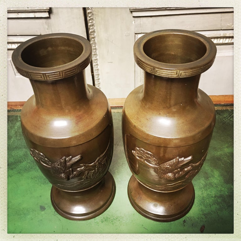 Pair of 19th Century Japanese Bronze Vases In Good Condition For Sale In Dallas, TX