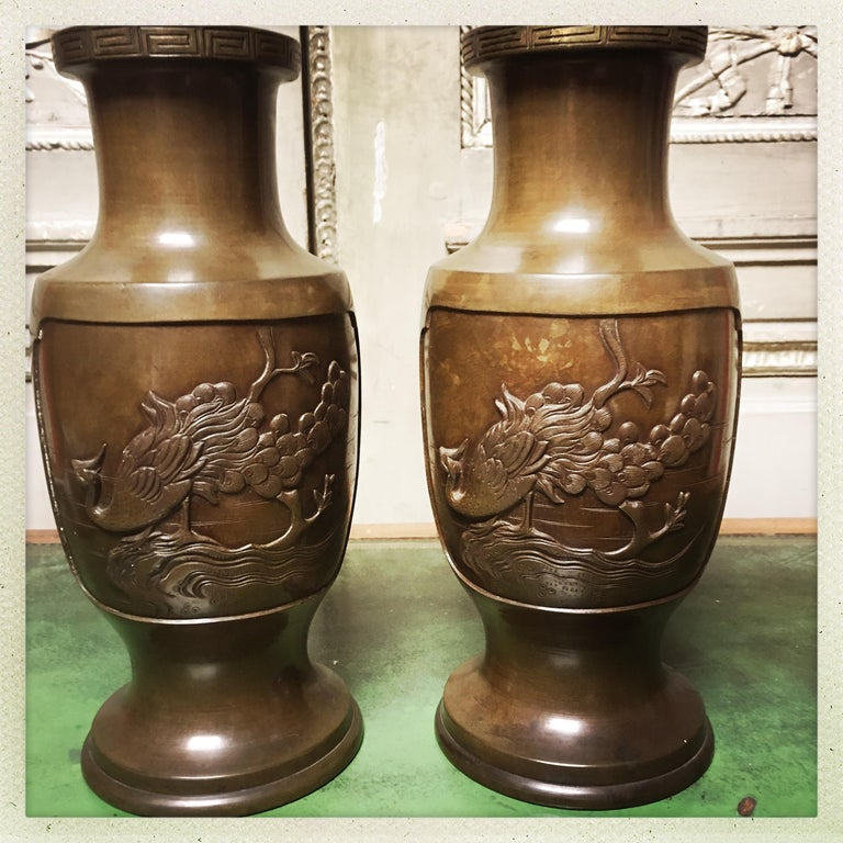 20th Century Pair of 19th Century Japanese Bronze Vases For Sale