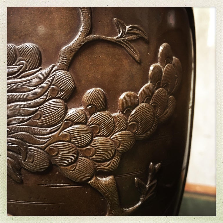 Pair of 19th Century Japanese Bronze Vases For Sale 4