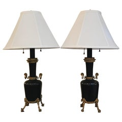 Pair of 19th Century Marble and Ormolu Garnitures Now as Lamps