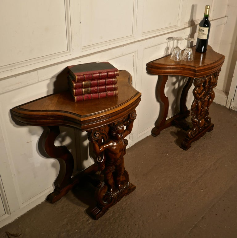 Pair of 19th Century Ornately Carved Walnut Rocco Console Tables For Sale 7