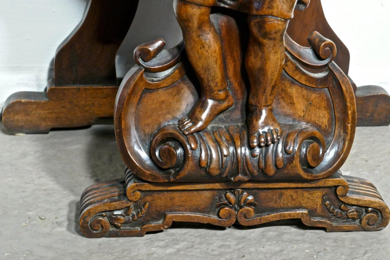 Pair of 19th Century Ornately Carved Walnut Rocco Console Tables For Sale 3