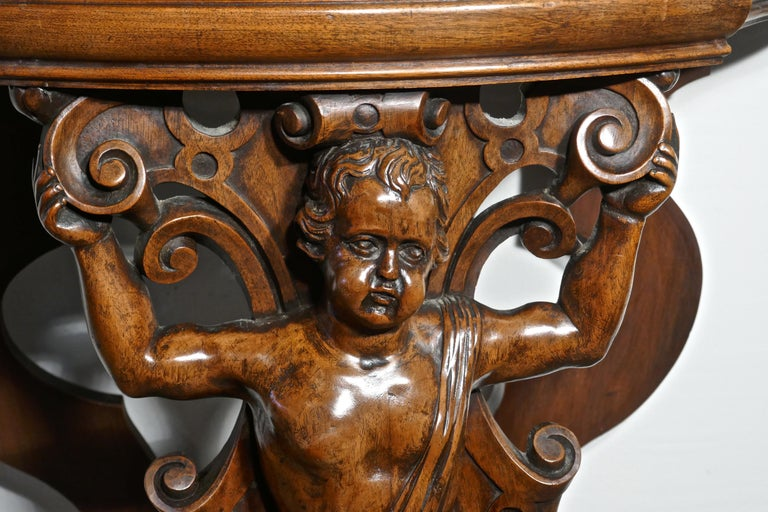 Pair of 19th Century Ornately Carved Walnut Rocco Console Tables For Sale 4