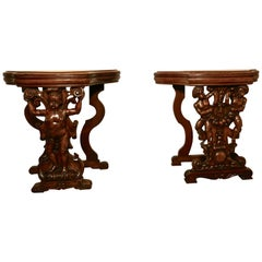 Pair of 19th Century Ornately Carved Walnut Rocco Console Tables