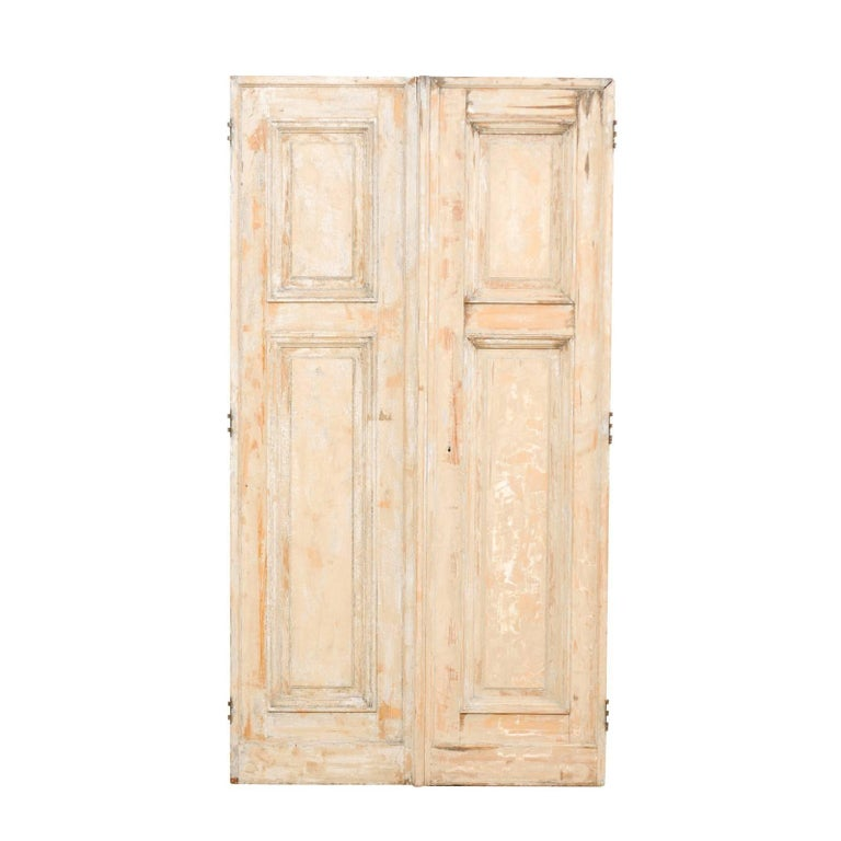 Pair of 19th Century Painted Wood French Doors with Nice Recessed Panels