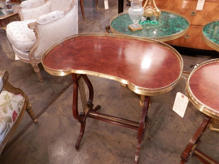Louis XV Pair of 19th Century Parquetry Mahogany and Gilt Bronze Kidney Shaped Tables