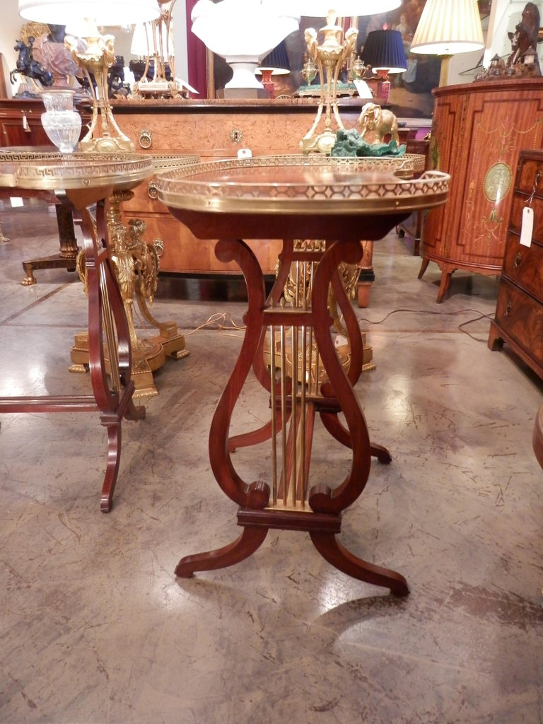 French Pair of 19th Century Parquetry Mahogany and Gilt Bronze Kidney Shaped Tables