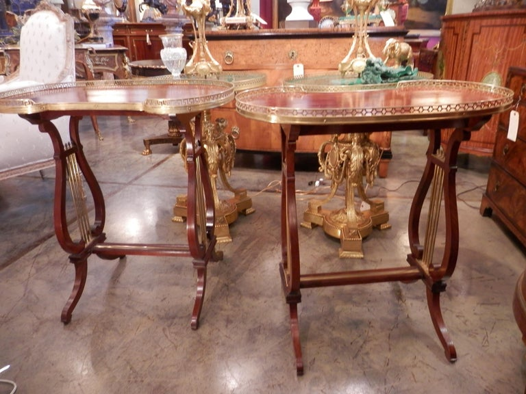 Pair of 19th Century Parquetry Mahogany and Gilt Bronze Kidney Shaped Tables In Good Condition In Dallas, TX