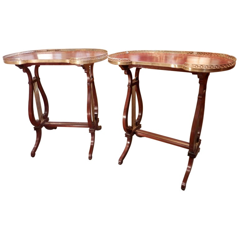 Pair of 19th Century Parquetry Mahogany and Gilt Bronze Kidney Shaped Tables