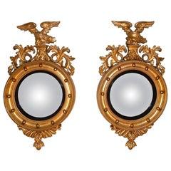 Pair of 19th Century Regency Giltwood Convex Mirrors
