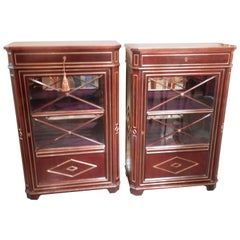 Pair of 19th Century Russian Mahogany and Brass Inlayed Cabinets