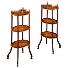 A Pair of 19th Century Three Tier Marquetry Etageres with Brass Galleries