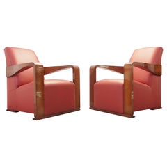 "Pair of 2 Art Deco Style Club Chairs Model ""Ying"" by Hugues Chevalier"