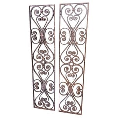 Pair of 2 Identical Old French Cast Iron Door Grilles