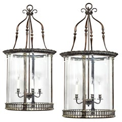 Pair of 20th Century Brass Hanging Lanterns in the Style of Lutyens