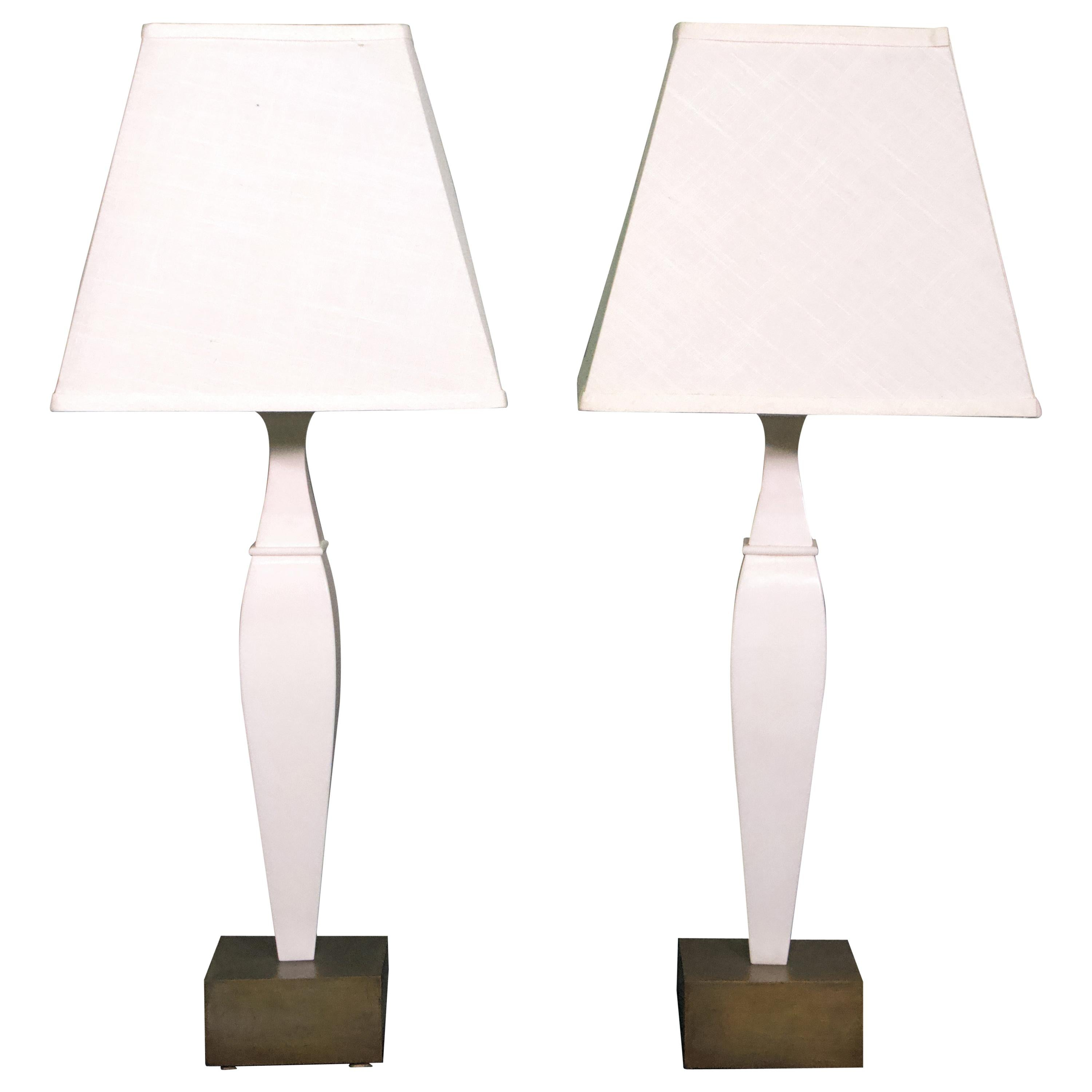 Pair of 20th Century Italian White Marble and Bronze Lamps
