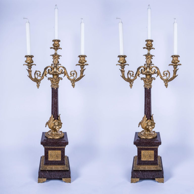 19th Century Pair of 4-Candle Foliate Bronze and Porphyry Marble Candelabra For Sale