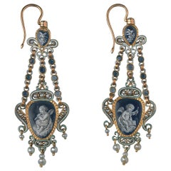Pair of 18 Carat Gold Double Sided Earrings with Enamel and Pearls