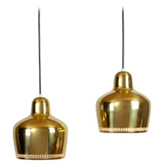 Pair of A330s Golden Bell Pendants by Alvar Aalto for Artek, 1960s